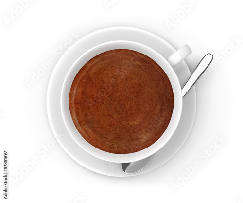 Foto op Plexiglas Chocolade Dark coffee in a white cup with a saucer and stirring spoon