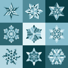 Set Of Nine Vector Blue White SnowFlake Shapes Design Elements