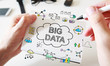 Mans hand drawing Big Data concept on notebook