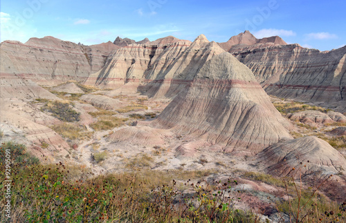 Photo Badlands landscape, formed by deposition and erosion by wind and water, contains