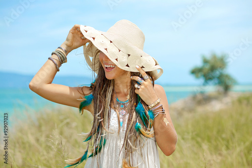 Photo  beautiful hippie girl