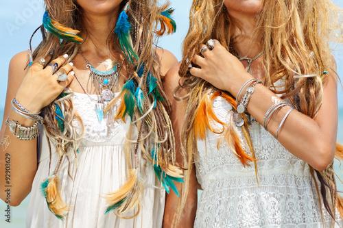 Photo  hippie girls close up