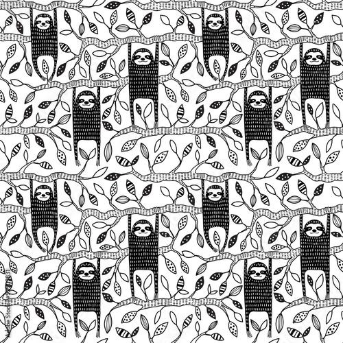 Sloths seamless pattern