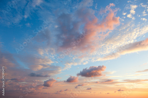 Fotografering  Gentle Sky Background at Sunset time, natural colors, may use