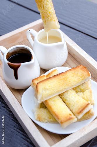 Staande foto Zuivelproducten Buttered toast