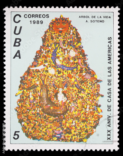 Poster  Postage stamp printed in Cuba shows the tree of life for the anniversary of Hous
