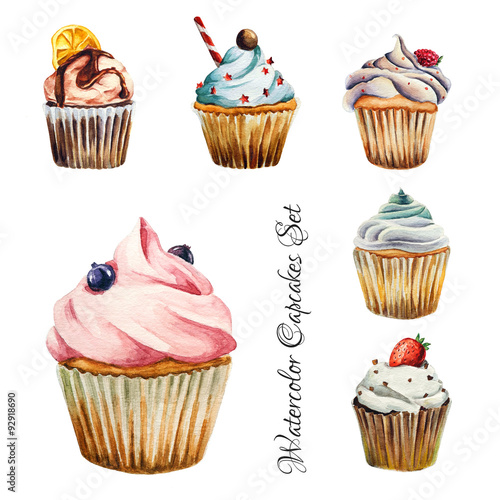 Watercolor cupcakes set, isolated Poster