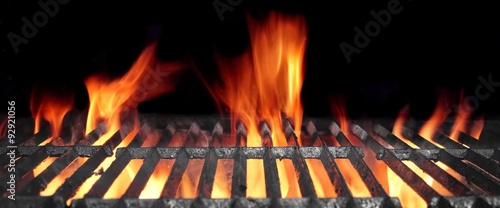 Photo Stands Grill / Barbecue Hot Flaming BBQ Grill With Bright Flames And Glowing Coals