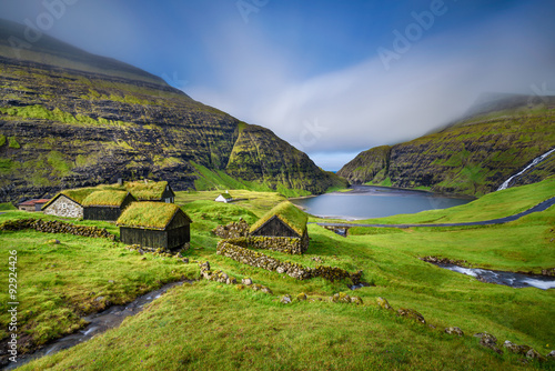 Village of Saksun, Faroe Islands, Denmark Canvas Print