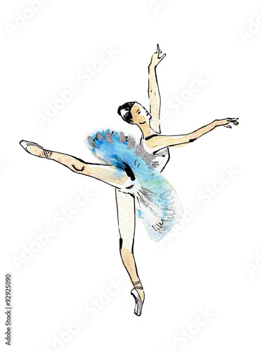 Ballet Dancer In Arabesque Pose Black And Silver Drawing On A Blue Watercolor Isolated White Background Template For Scrapbook Buy This Stock Illustration And Explore Similar Illustrations At Adobe Stock