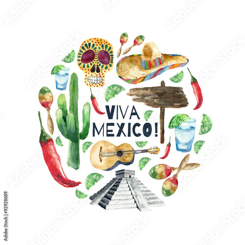 Watercolor mexico icons. Fotobehang