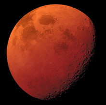 Blood Moon Concept Of Halloween Or Full Moon. Moon And Earth On Black Background. Elements Of This Image Furnished By Nasa