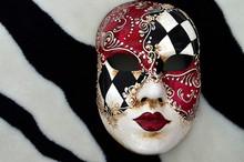 Venetian Mask On A Black And White Background