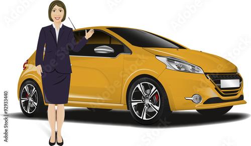 Garden Poster Cartoon cars Femme d'affaire vendeur de voiture 02