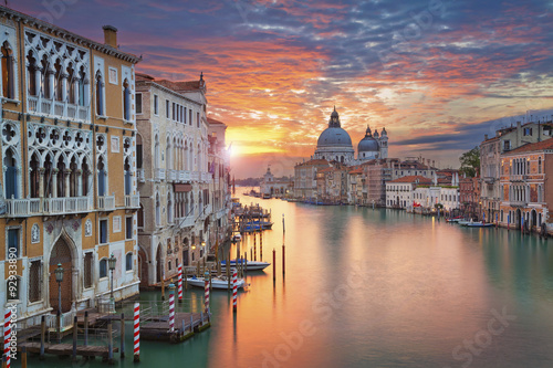 Poster Venice Venice. Image of Grand Canal in Venice, with Santa Maria della Salute Basilica in the background.