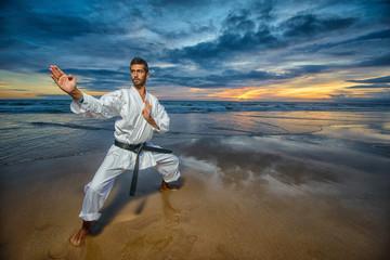 Fototapeta Sztuki walki karate master in defense position
