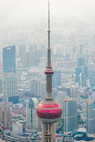 The Oriental Pearl Tower, landmark of Shanghai city. Poster