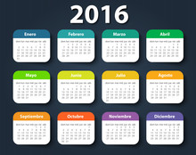 Calendar 2016 Year Vector Design Template In Spanish.