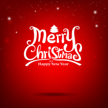Merry Christmas Vector Calligraphic Free Hand Write Vector Illus