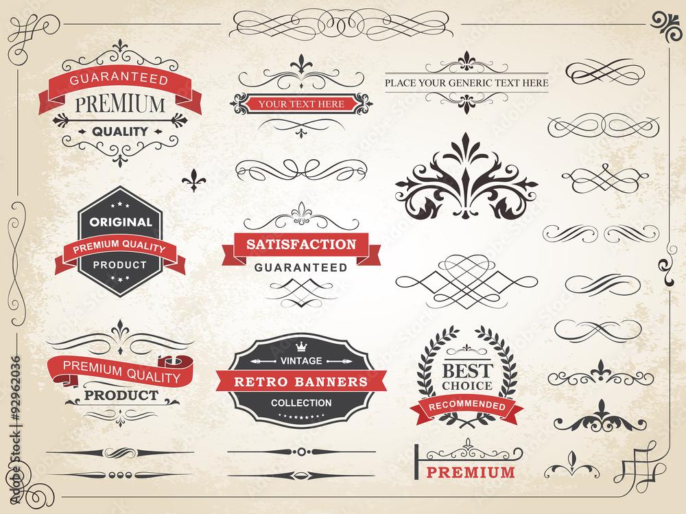 Fototapety, obrazy: Vintage Label Ornament Divider Vector