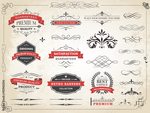 Fotografía  Vintage Label Ornament Divider Vector