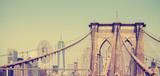 Fototapeta Sypialnia - Vintage filtered panoramic picture of Brooklyn Bridge, NYC, USA