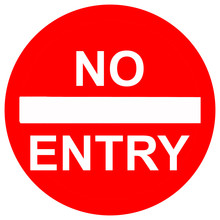 No Entry Sign, Isolated On White Background