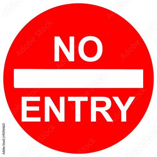 No entry sign, isolated on white background Wallpaper Mural