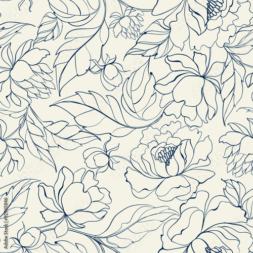 Seamless floral pattern. Wallpaper Mural