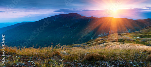 Beautiful panoramic landscape in the mountains at sunrise. #92968687