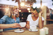 canvas print picture - Two multi ethnic friends enjoying coffee