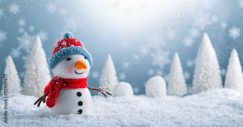 Fotografie, Obraz Snowman and Christmas decorations