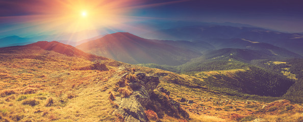 Beautiful panoramic landscape in the mountains at sunshine.