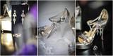 High heels wedding shoes. Rings, earrings and wedding accessories