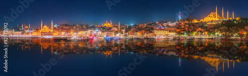 Panorama os Istanbul and Bosporus at night Canvas Print