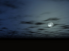 The Moon In The Night Sky Above A Bottomless Surface Without Living, Full Moon