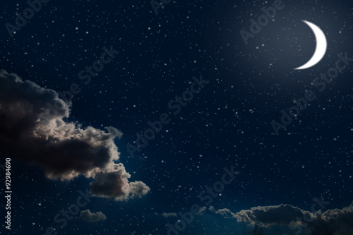 Wall Murals Night Night sky with stars and full moon background