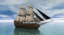 Sailing Ship On A Calm Ocean, ...