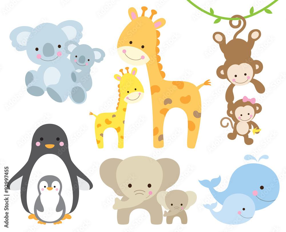 Fototapeta Vector illustration of animal and baby including koalas, penguins, giraffes, monkeys, elephants, whales.