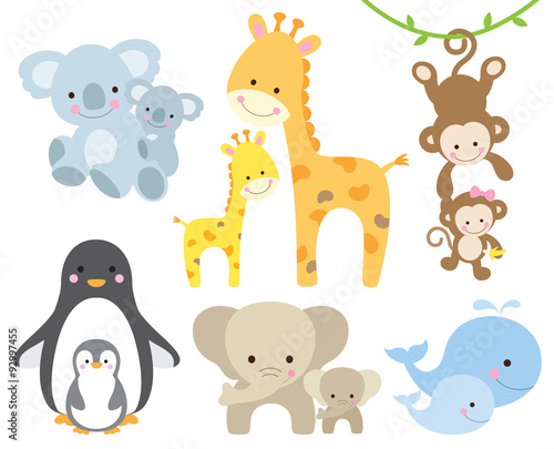 obraz PCV Vector illustration of animal and baby including koalas, penguins, giraffes, monkeys, elephants, whales.