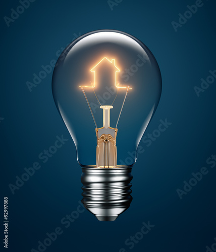 Photo  Light Bulb with Filament Forming a House Icon