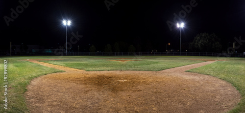 Poster Culture Panorama of empty baseball field at night from behind home pate