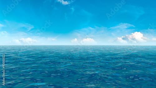 Aluminium Prints Green coral Beautiful sky and blue ocean