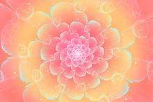 Peach Fractal Flower, Digital ...