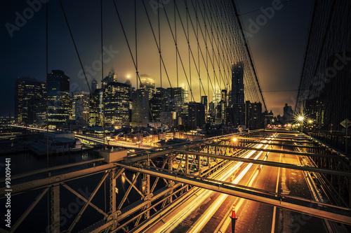 Fototapeta View of Brooklyn Bridge at night