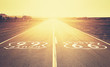 canvas print picture - Retro old film style sunset over Route 66, California, USA.