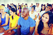 Crowd Learning Celebrating Casual Diverse Ethnic Concept