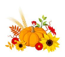 Autumn Pumpkin And Flowers. Vector Illustration.