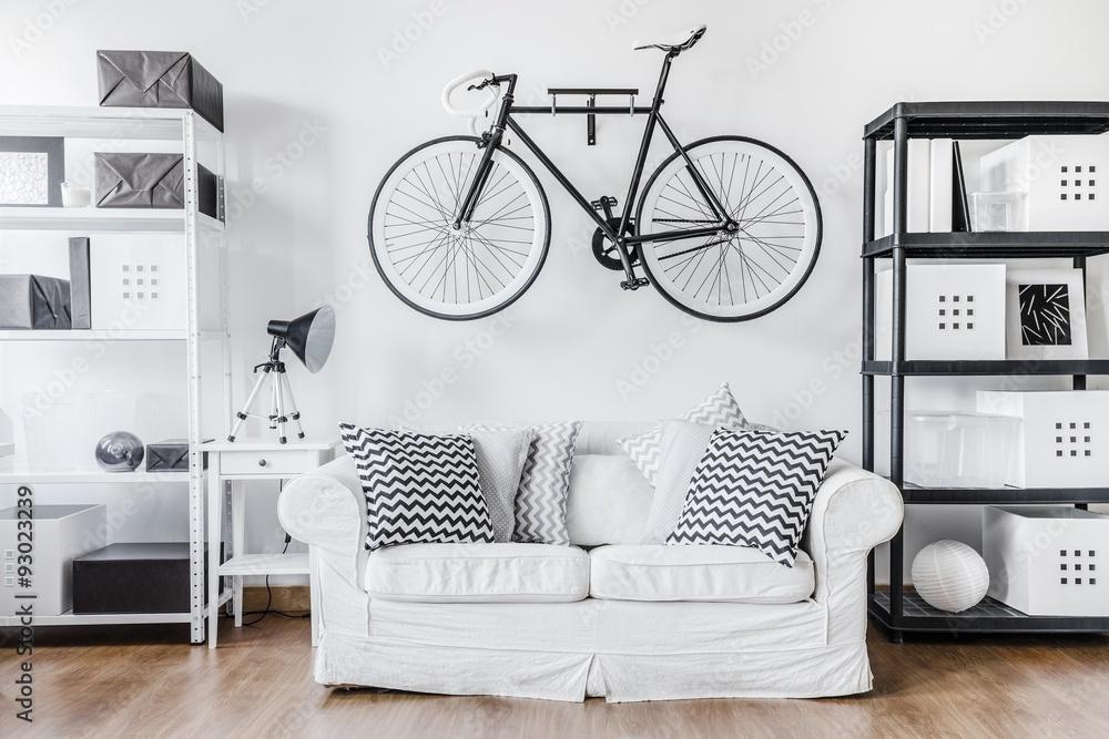 Fototapeta Black and white contemporary interior