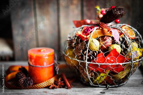 Fotografie, Obraz  Autumn decoration on rustic background